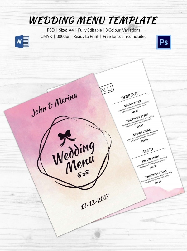 water_color_wedding_menu_template