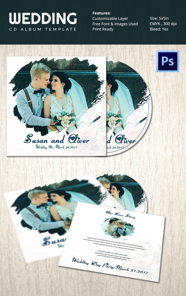 Wedding CD Cover Template Photoshop PSD Download