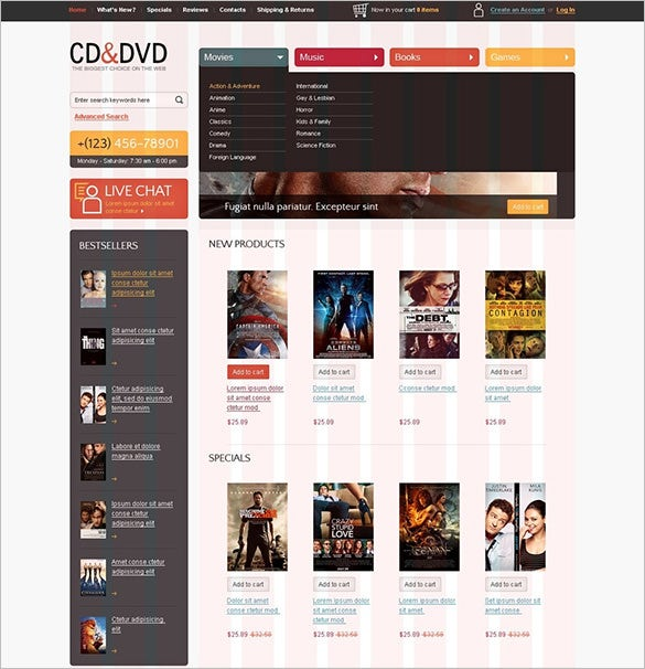 dvd store oscommerce template