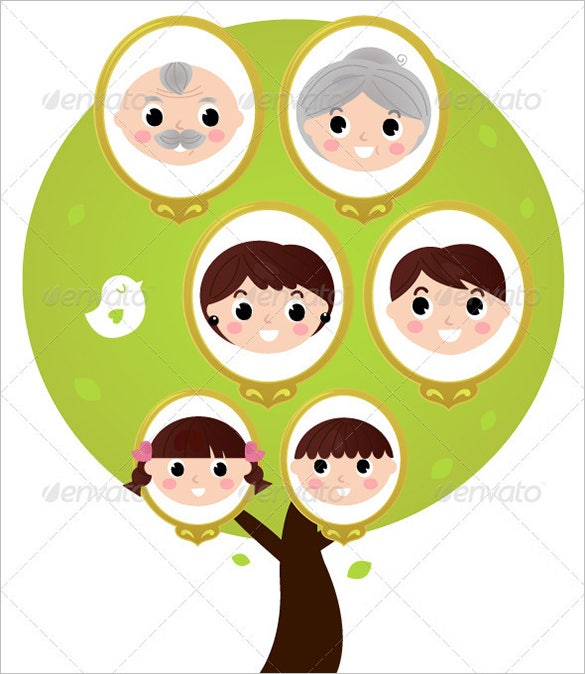 3 generation family tree in vector eps format