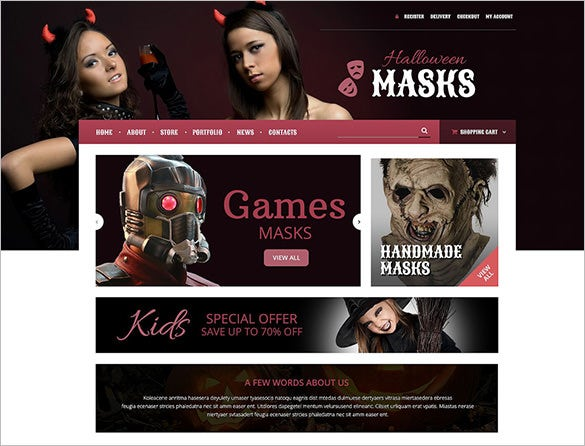 halloween masks oscommerce template