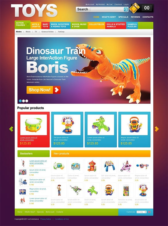 oscommerce template for toy store