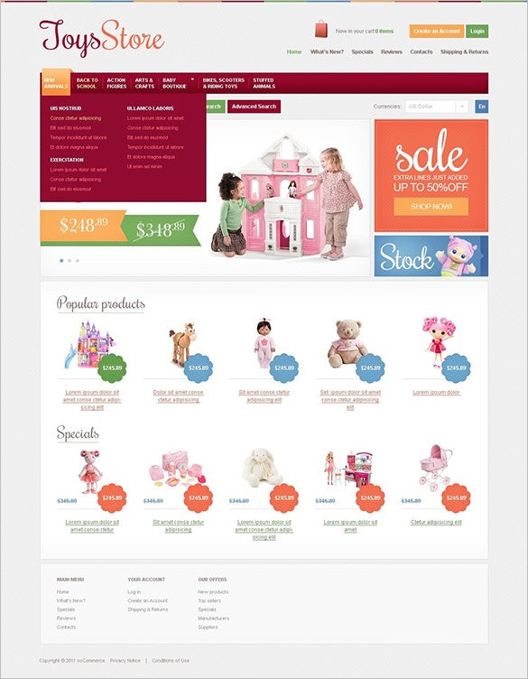 elegant toy store oscommerce template