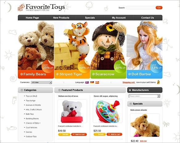 fantastic toy store oscommerce template