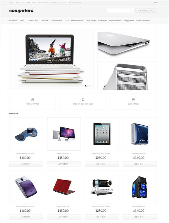 apparel computer store opencart template