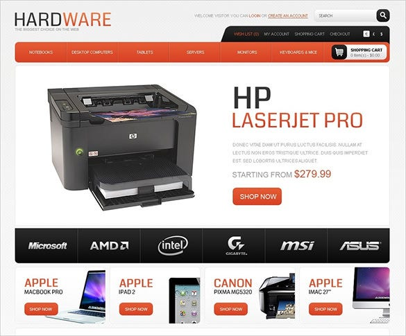 hardware computer store opencart theme