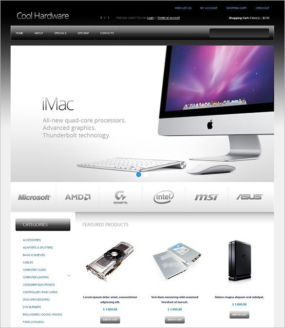 online computer hardwrae store opencart template