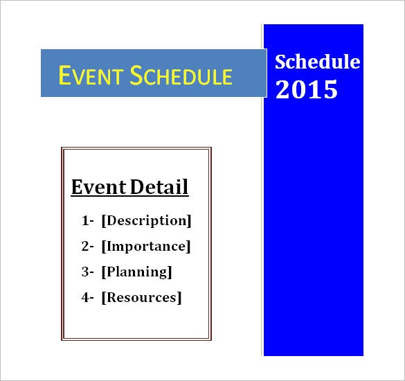 free download event schedule planner template word doc