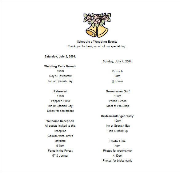sample wedding party event schedule template download