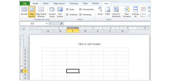 page layout in workbook views group