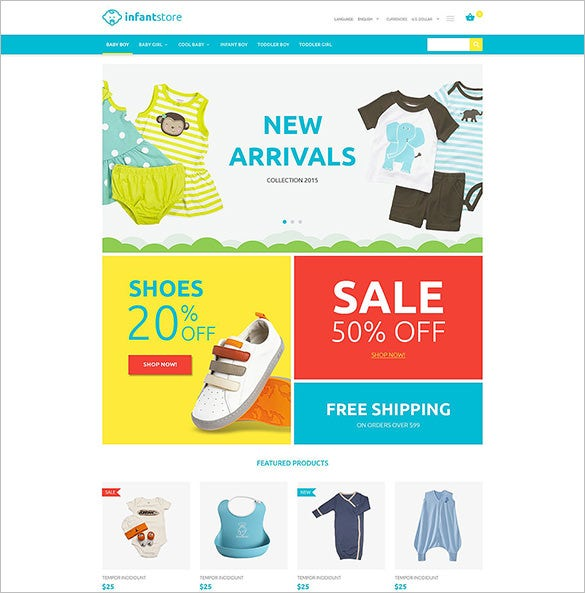 infant clothing store oscommerce template