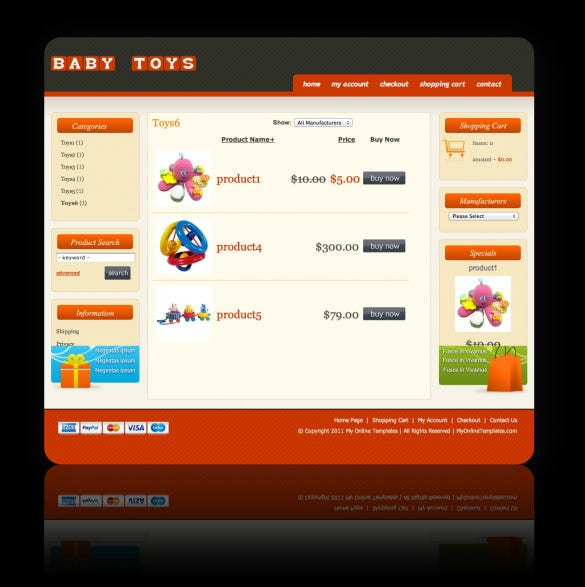 oscommerce baby toys store template