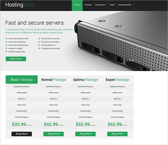 hosting store opencart theme