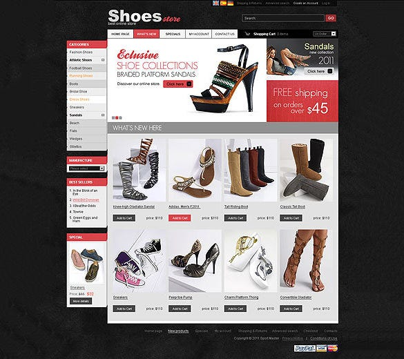 elegant shoes store oscommerce template