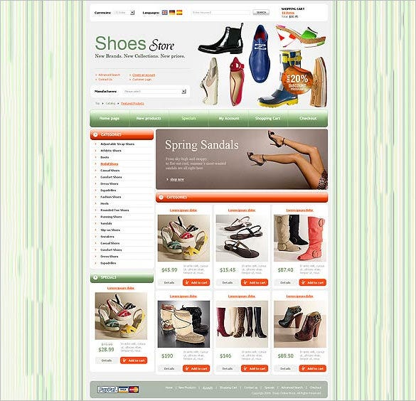 oscommerce shoes store template for you