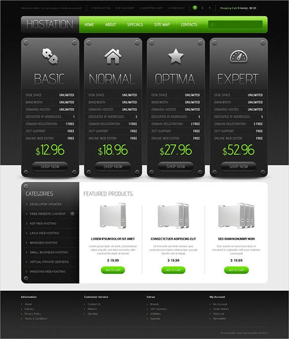 dark simple hosting opencart theme