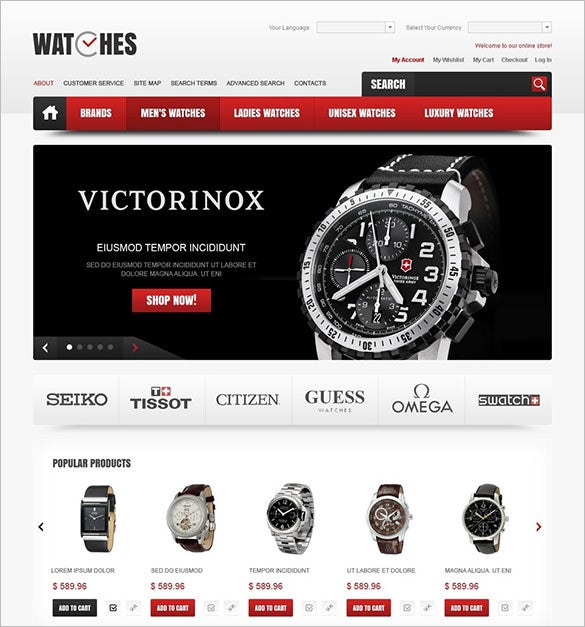 stylish watches oscommerce template
