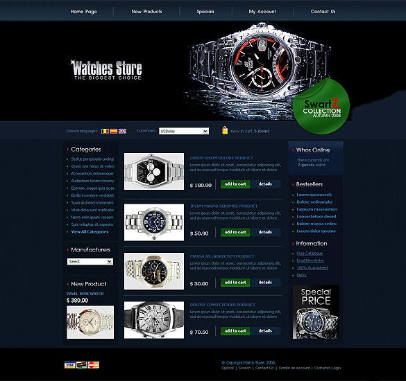 watches store oscommerce template