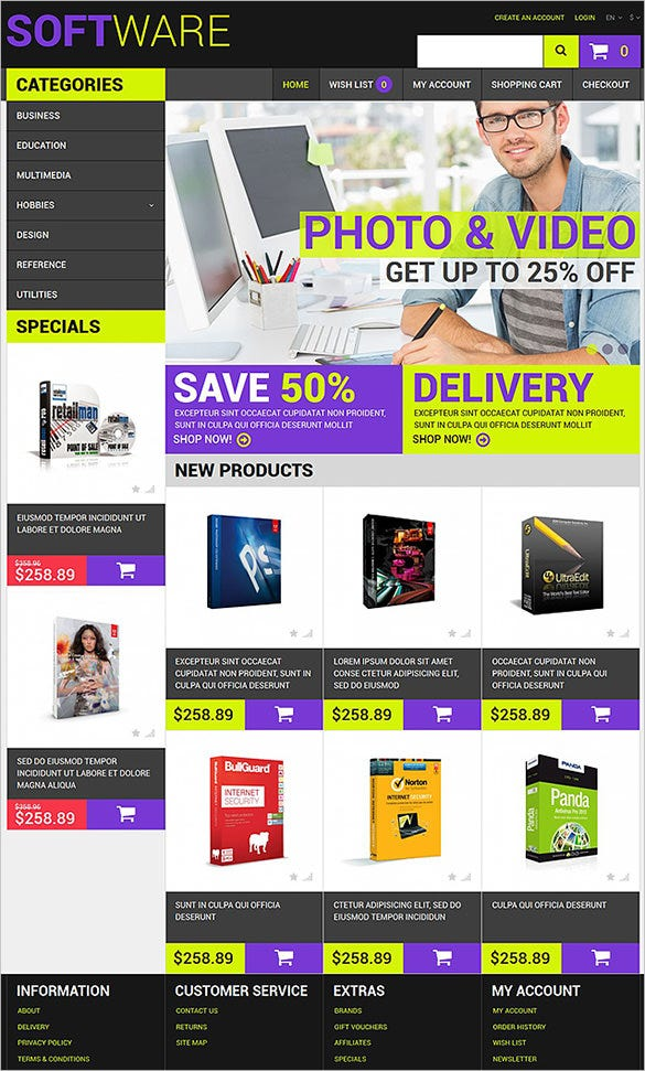 beautiful software opencart template