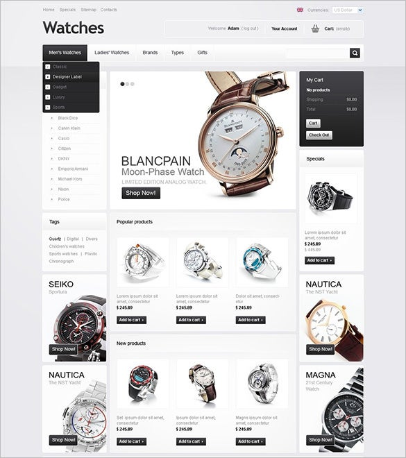 premium watches oscommerce template