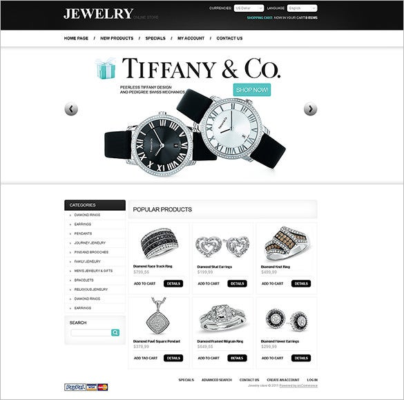 oscommerce template for watch store