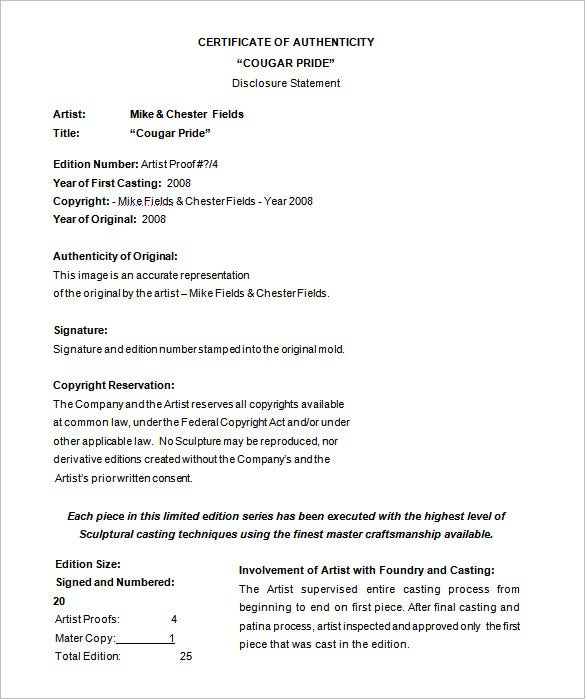 certificate of authenticity template doc download
