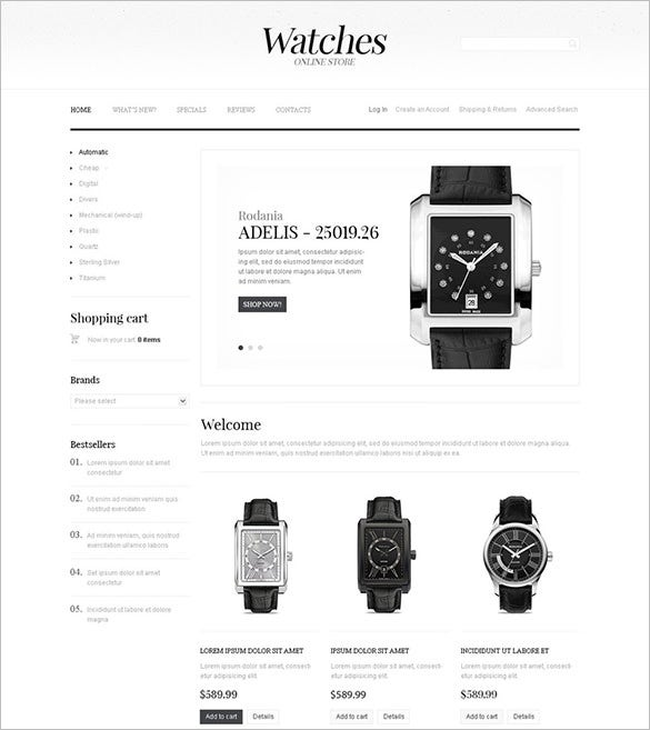 online watch store oscommerce template