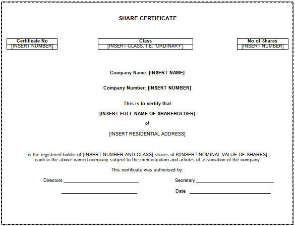 Share Certificate Template Word Doc Download  Certificate Word Template