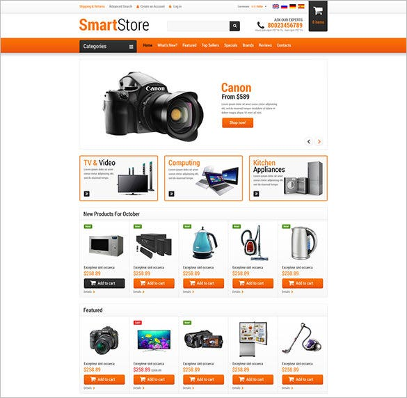 home electronic accessories oscommerce template