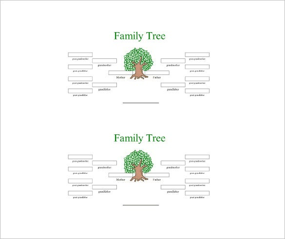 4 generation family tree word free download