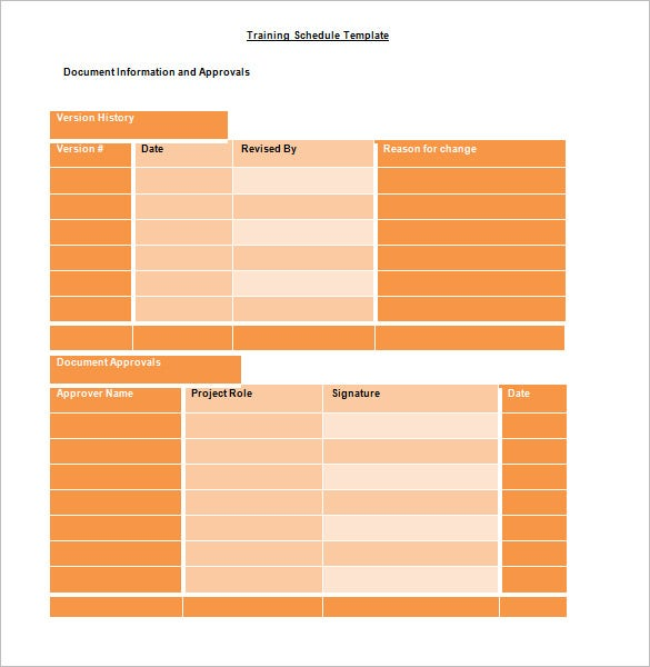 Sample Editable Microsoft Training Schedule Template Word Doc