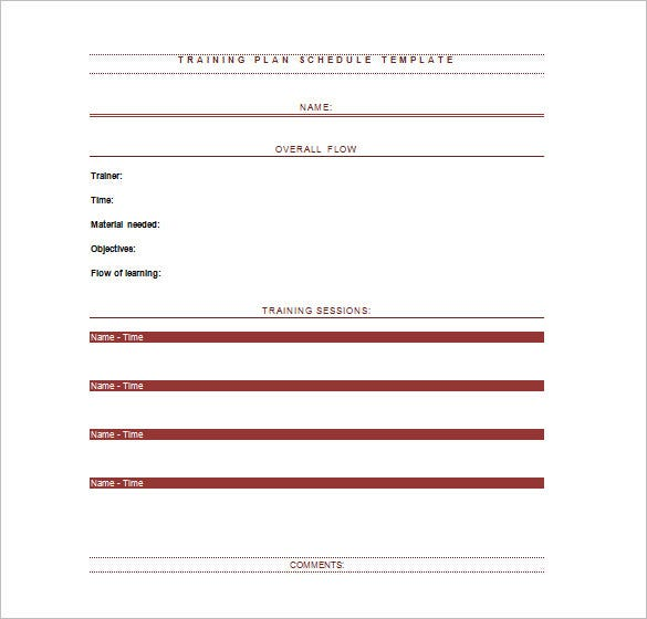 Sample Blank Employee Training Schedule Template Ms Word