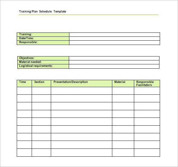 Training Schedule Template   Free Sample Example Format