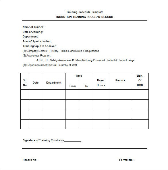 Training Schedule Template 8 Free Sample Example Format – Sample Schedule Template