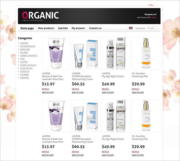 oscommerce template cosmetics store