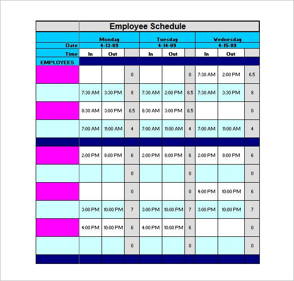 free download employee schedule work total template