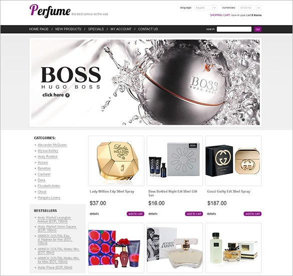oscommerce cosmetics store template