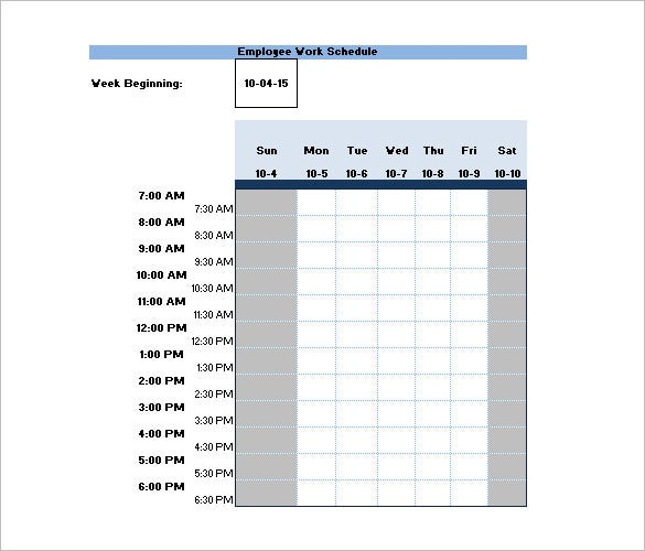Samples of Work Schedule Templates to Download