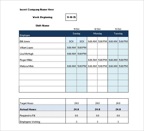 Shift schedule templates 11 free sample example format for Hourly employee schedule template