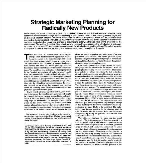 sample product marketing plan