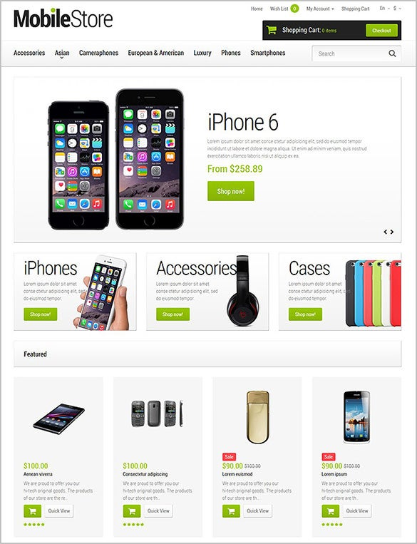 clear white mobile store opencart template