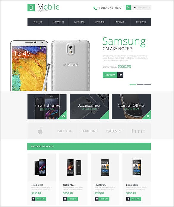 white background mobile store opencart theme