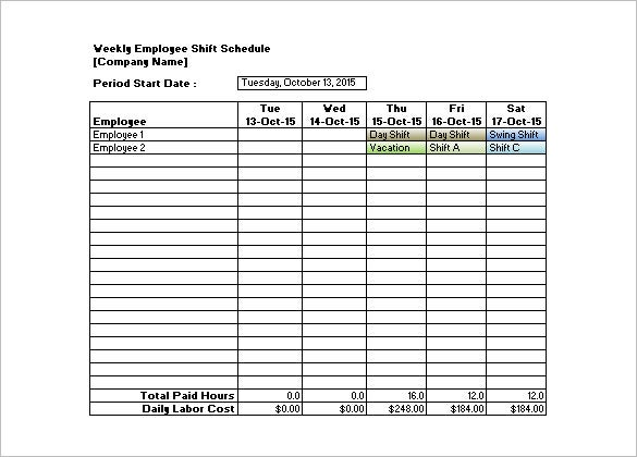 Shift Schedule Template – 8+ Free Sample, Example Format Download ...