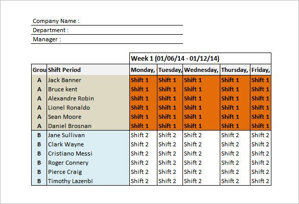 Shift Schedule Template   Free Sample Example Format Download