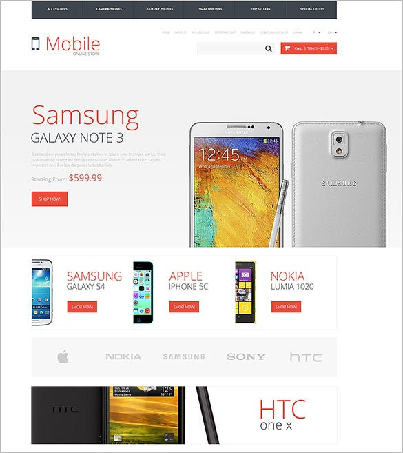 red lettered mobile store opencart template