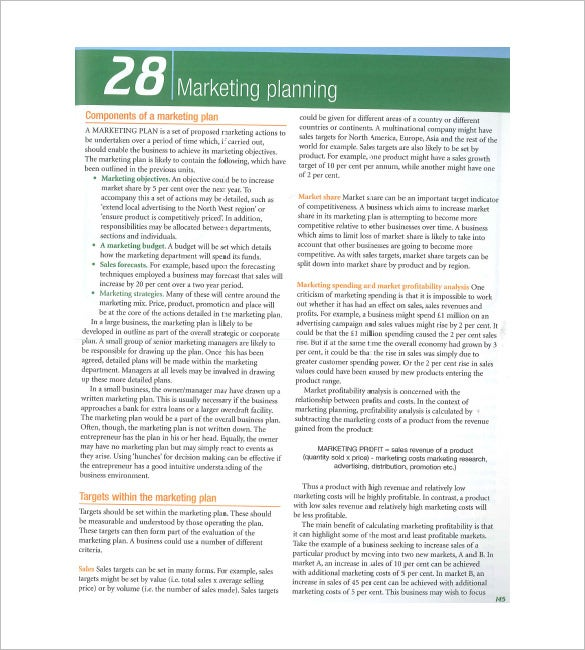 sample components of a marketing plan