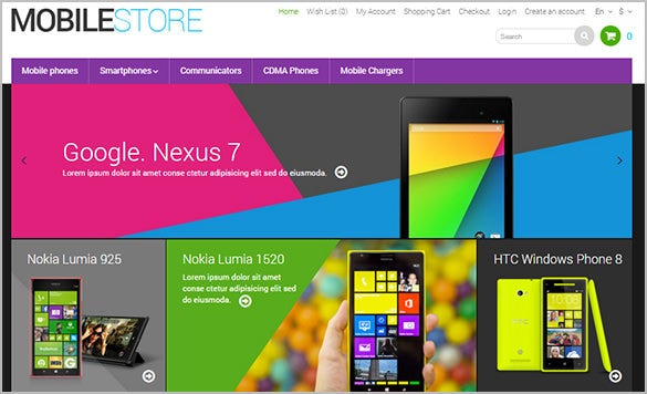 colorful mobile store opencart theme