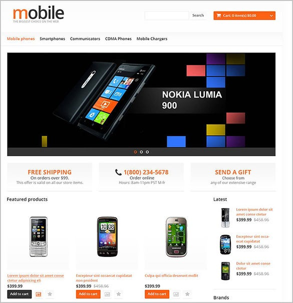 mobile store opencart theme
