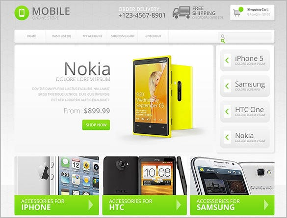 online mobile store opencart theme