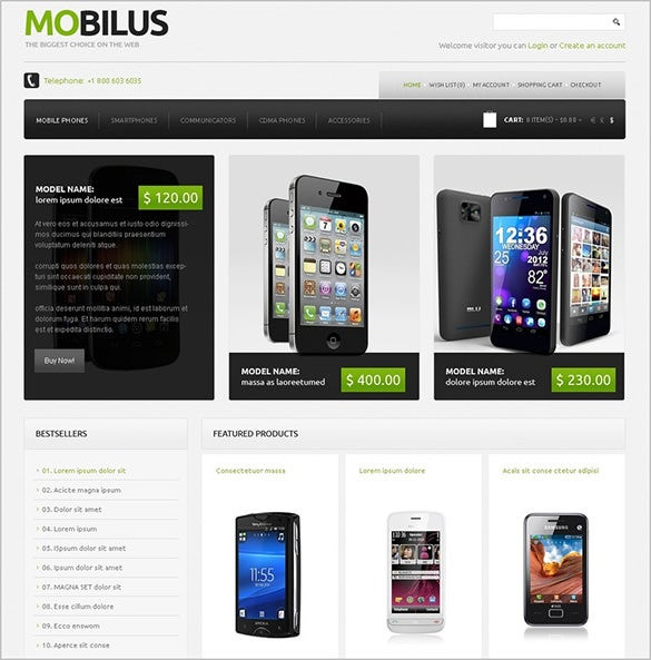 splendid mobile store opencart template